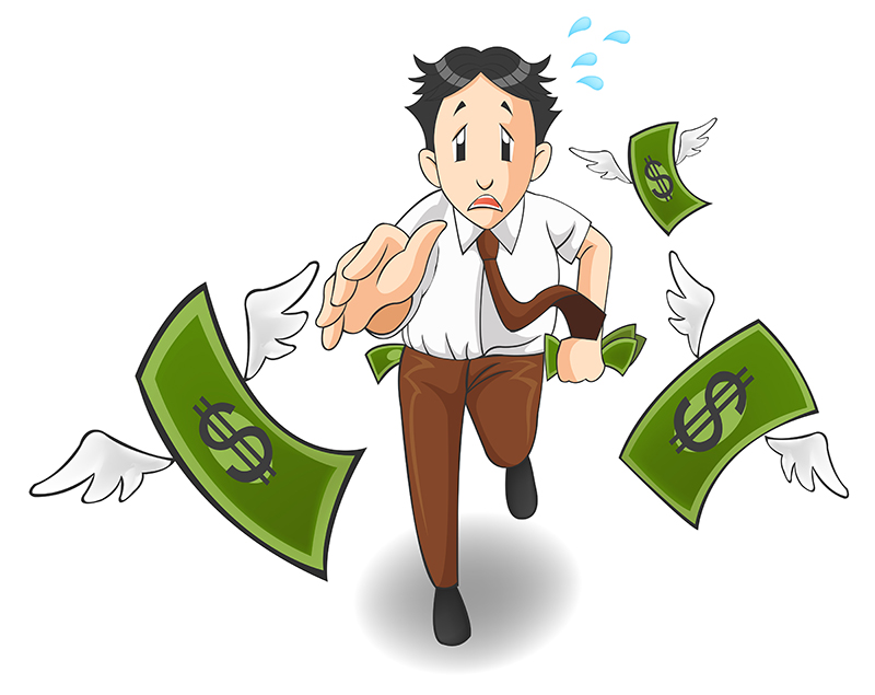 Money is flying away from the pocket causing money stress
